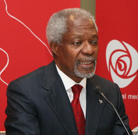 Kofi Annan bei der norwegischen Arbeiterpartei, 2007. © Harry Wad